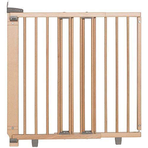 Geuther - Treppenschutzgitter ausziehbar 2733+, für Kinder/Hunde, Schrauben/Klemmen am Geländer, verstellbar, Holz, natur, 67 - 107 cm, TÜV geprüft