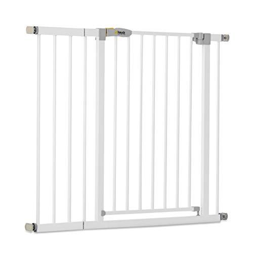 Hauck Open N Stop KD Türschutzgitter/Treppengitter, 96-101 cm, ohne Bohren/erweiterbar mit Verlängerungen von 9 cm und 21 cm bis 122 cm/ kombinierbar mit Y-Spindeln/ Metall/beidseitig schwenkbar/ weiß